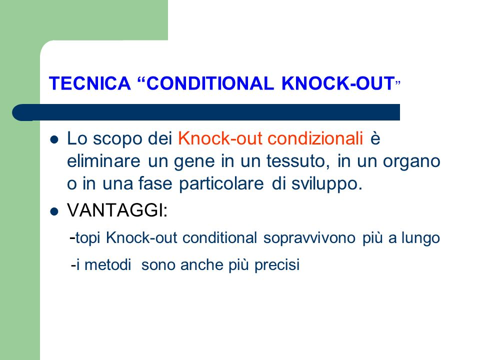 TECNICA CONDITIONAL KNOCK-OUT