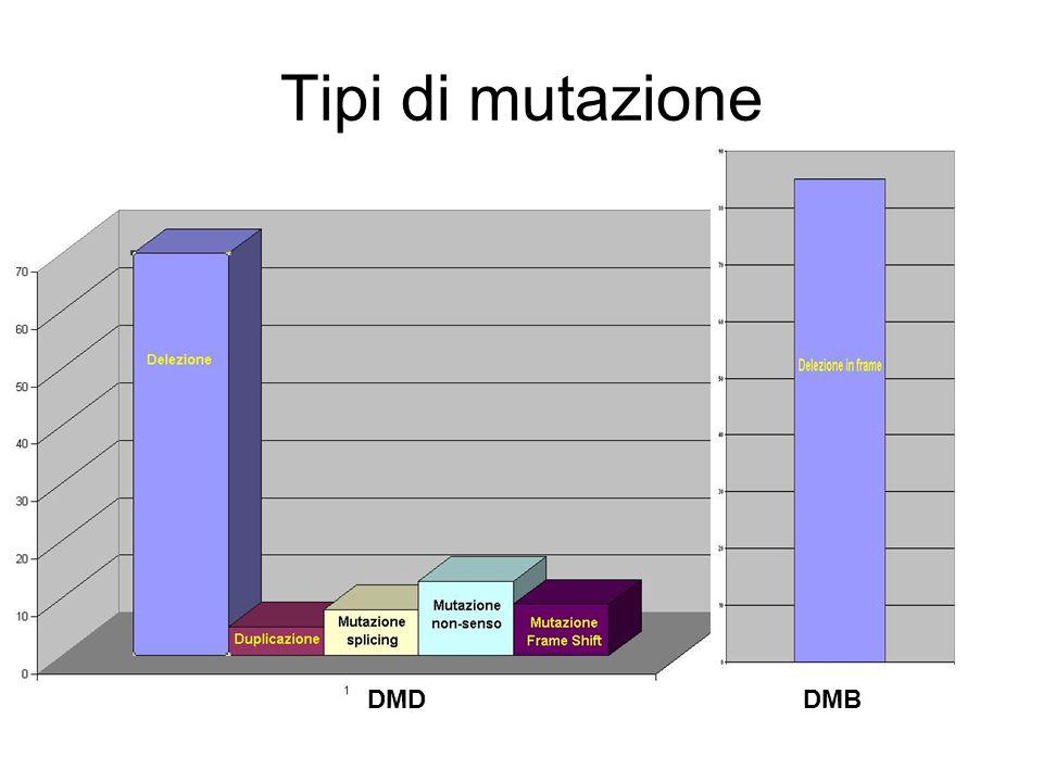 Tipi di mutazione DMD DMB