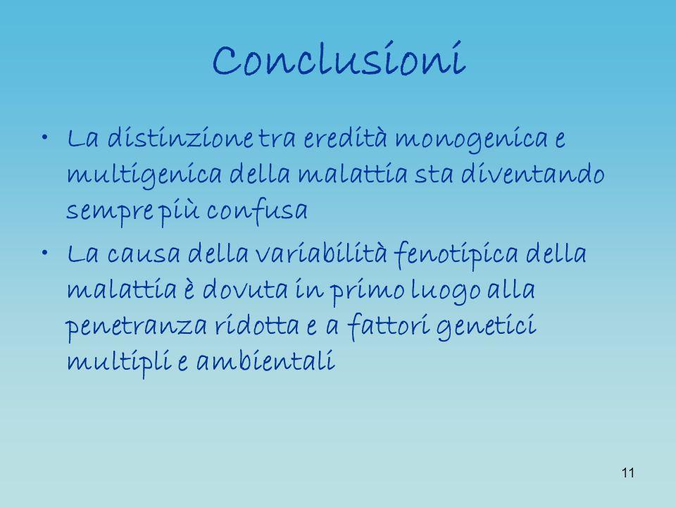 Conclusioni La distinzione tra eredità monogenica e multigenica della malattia sta diventando sempre più confusa.