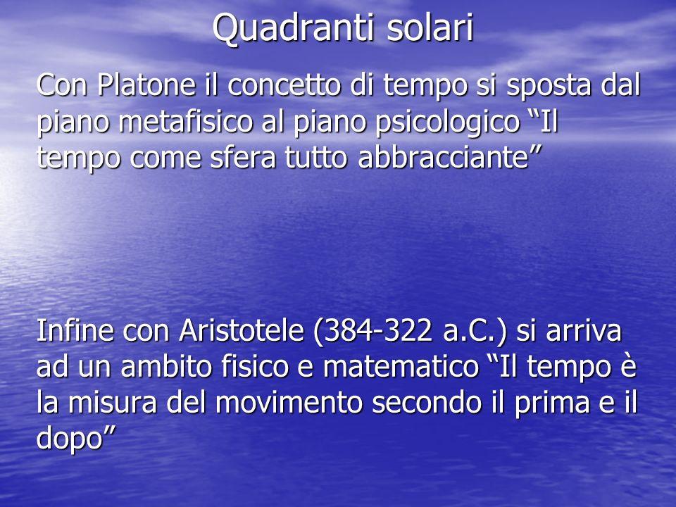 Quadranti solari Con Platone il concetto di tempo si sposta dal piano metafisico al piano psicologico Il tempo come sfera tutto abbracciante