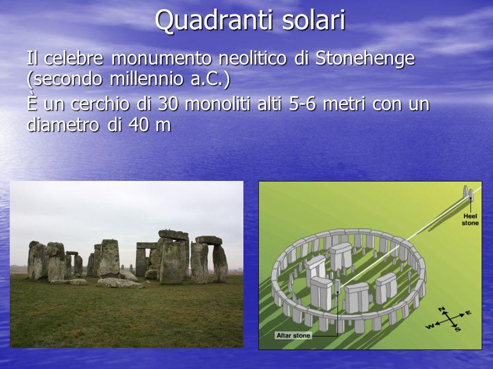 Quadranti solari Il celebre monumento neolitico di Stonehenge (secondo millennio a.C.)