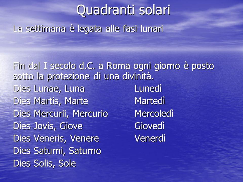 Quadranti solari La settimana è legata alle fasi lunari