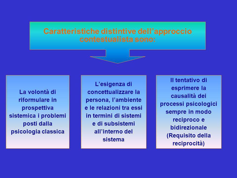 Caratteristiche distintive dell'approccio contestualista sono: