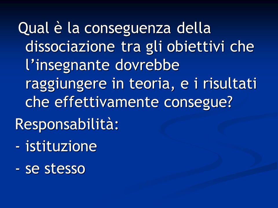 Responsabilità: - istituzione - se stesso