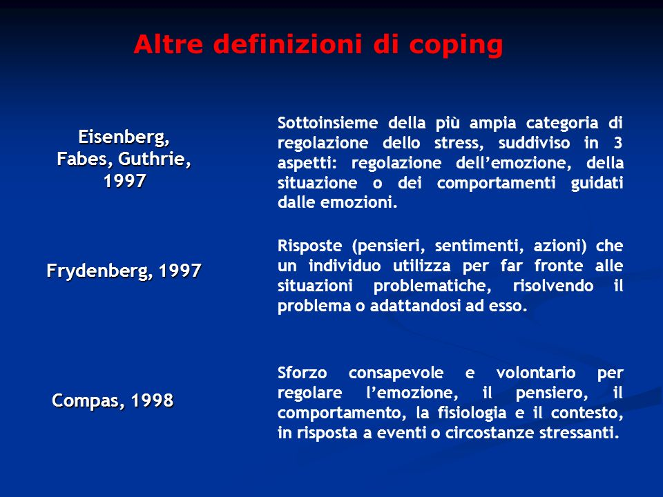 Altre definizioni di coping Eisenberg, Fabes, Guthrie, 1997