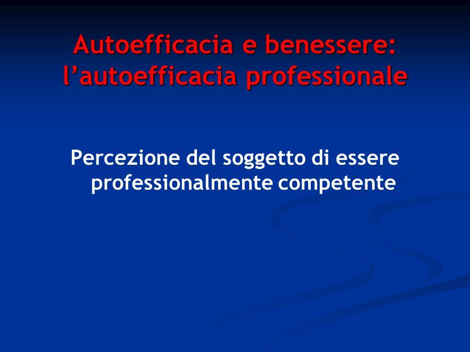 Autoefficacia e benessere: l'autoefficacia professionale