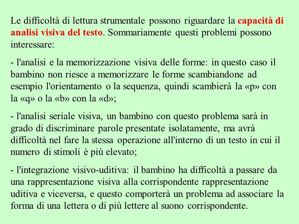Le difficoltà di lettura strumentale possono riguardare la capacità di analisi visiva del testo. Sommariamente questi problemi possono interessare: