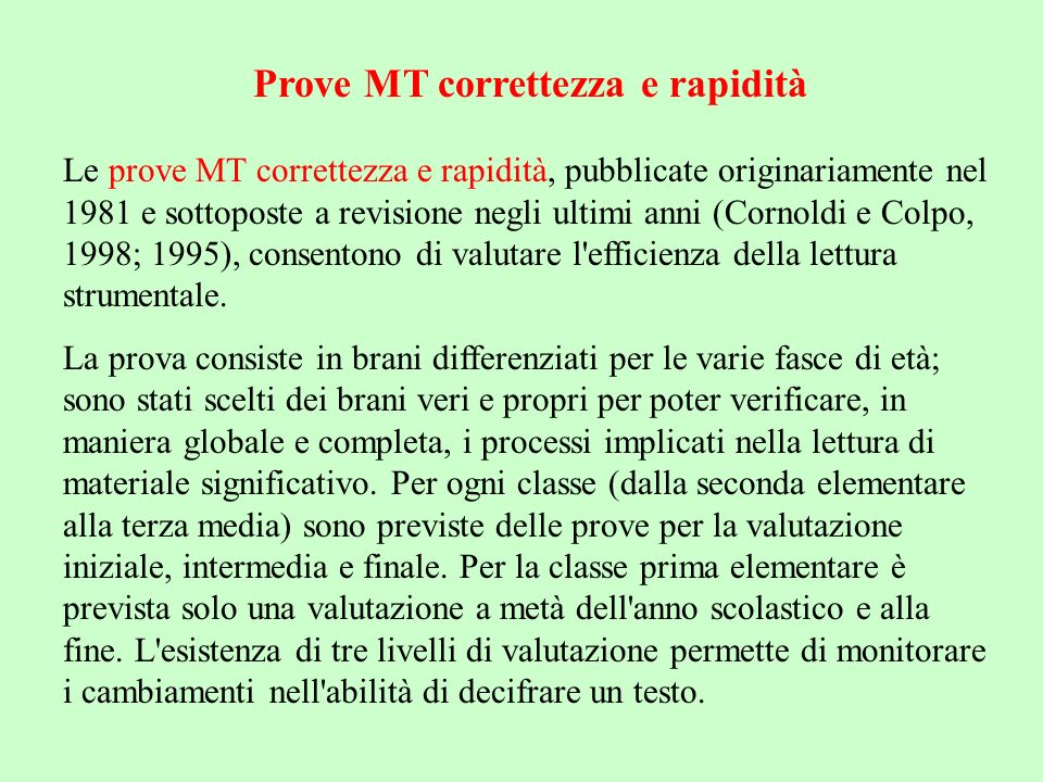 Prove MT correttezza e rapidità