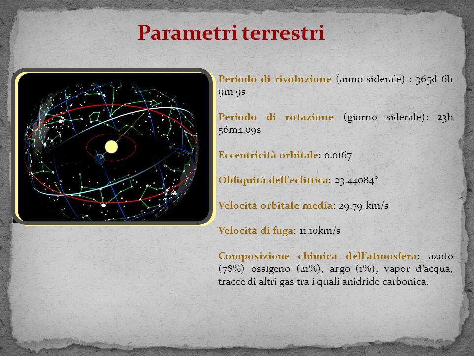 Parametri terrestri Periodo di rivoluzione (anno siderale) : 365d 6h 9m 9s. Periodo di rotazione (giorno siderale): 23h 56m4.09s.