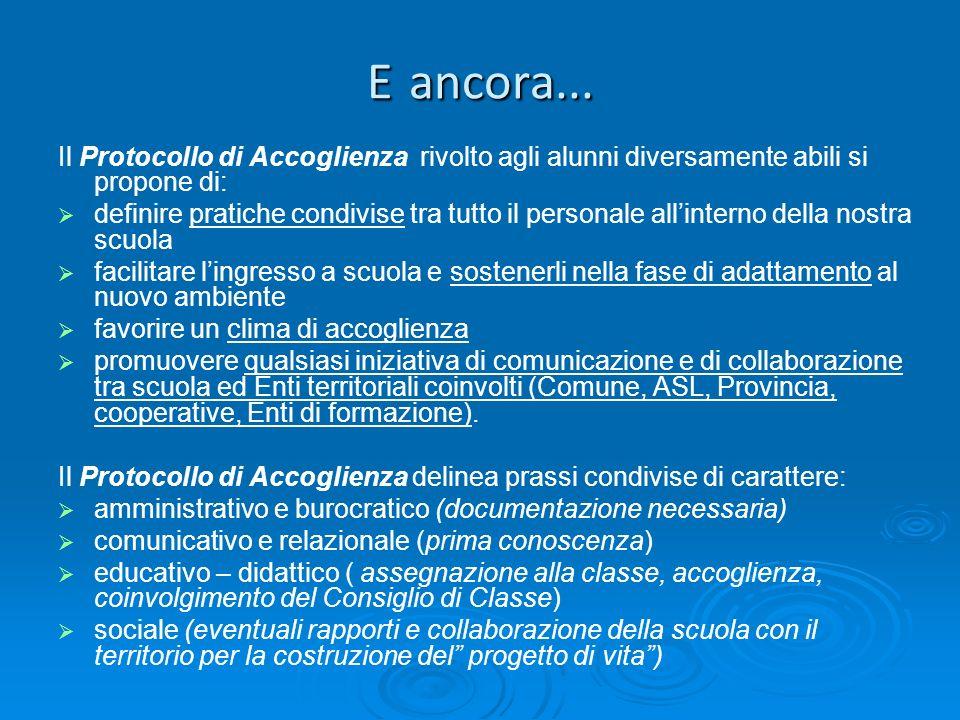 E ancora... Il Protocollo di Accoglienza rivolto agli alunni diversamente abili si propone di: