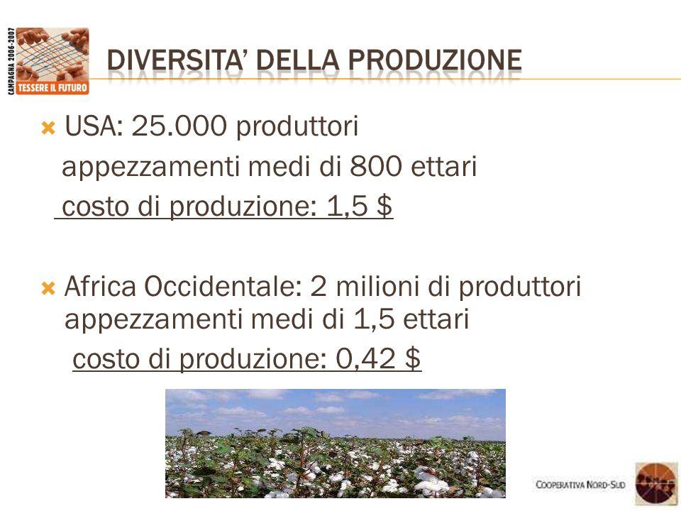 USA: 25.000 produttori appezzamenti medi di 800 ettari. costo di produzione: 1,5 $