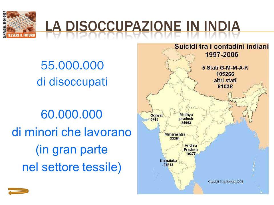 55.000.000 di disoccupati 60.000.000 di minori che lavorano (in gran parte nel settore tessile)