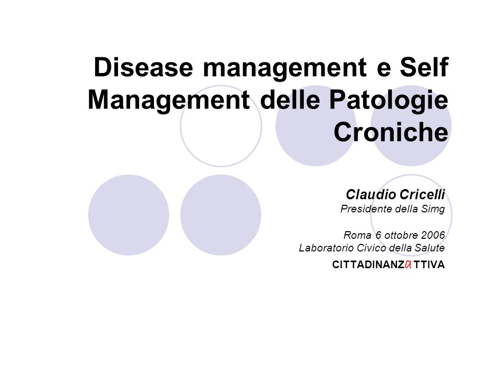 Disease management e Self Management delle Patologie Croniche