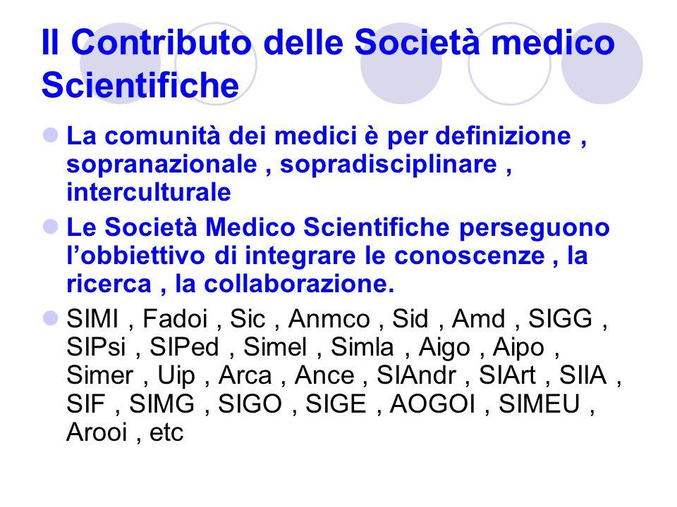 Il Contributo delle Società medico Scientifiche