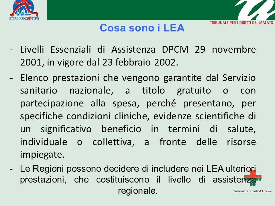 Cosa sono i LEA Livelli Essenziali di Assistenza DPCM 29 novembre 2001, in vigore dal 23 febbraio 2002.