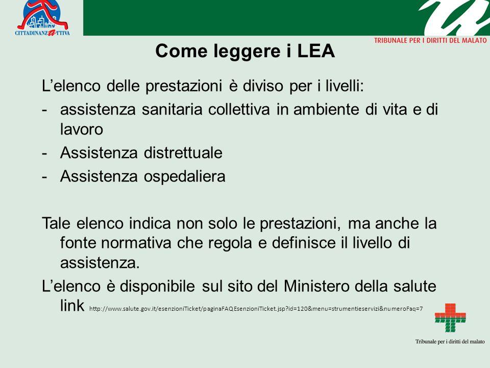 Come leggere i LEA L'elenco delle prestazioni è diviso per i livelli: