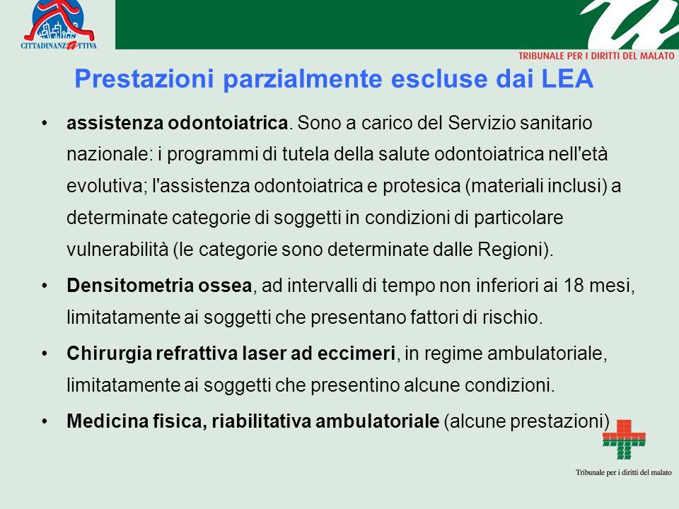 Prestazioni parzialmente escluse dai LEA