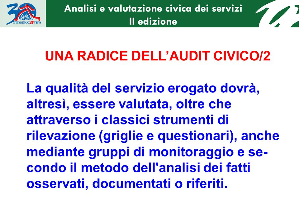 UNA RADICE DELL'AUDIT CIVICO/2
