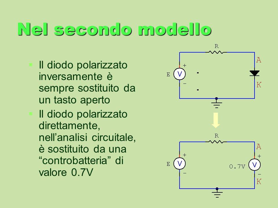 Nel secondo modelloIl diodo polarizzato inversamente è sempre sostituito da un tasto aperto.