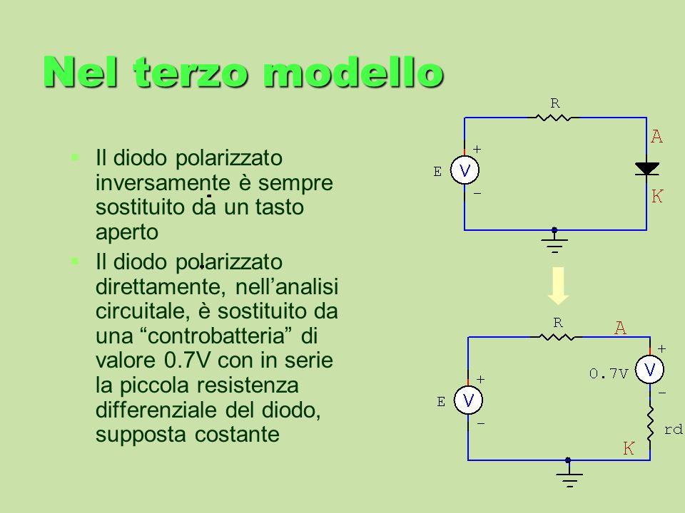 Nel terzo modello Il diodo polarizzato inversamente è sempre sostituito da un tasto aperto.