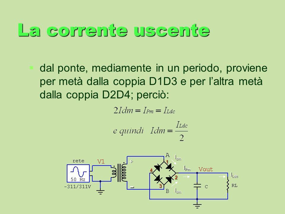 La corrente uscente dal ponte, mediamente in un periodo, proviene per metà dalla coppia D1D3 e per l'altra metà dalla coppia D2D4; perciò: