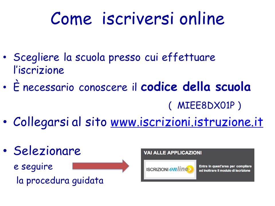 Come iscriversi online