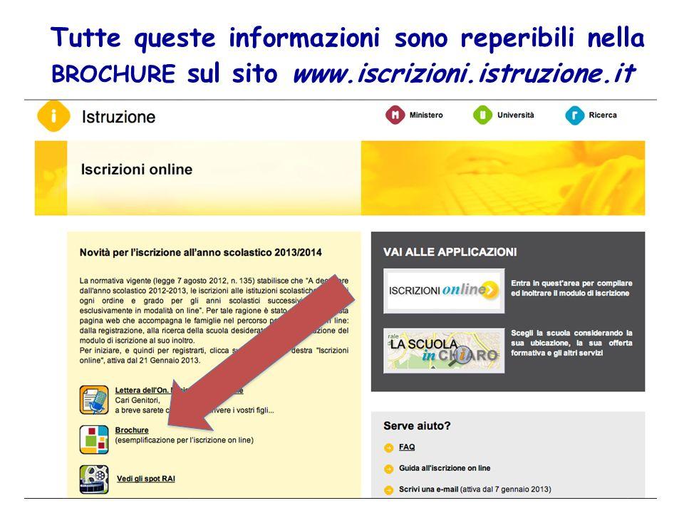 Tutte queste informazioni sono reperibili nella BROCHURE sul sito www
