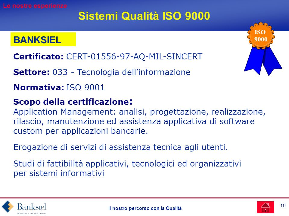 Sistemi Qualità ISO 9000 BANKSIEL