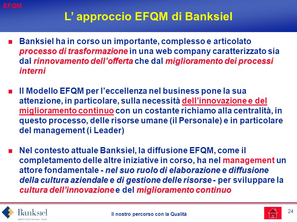L' approccio EFQM di Banksiel
