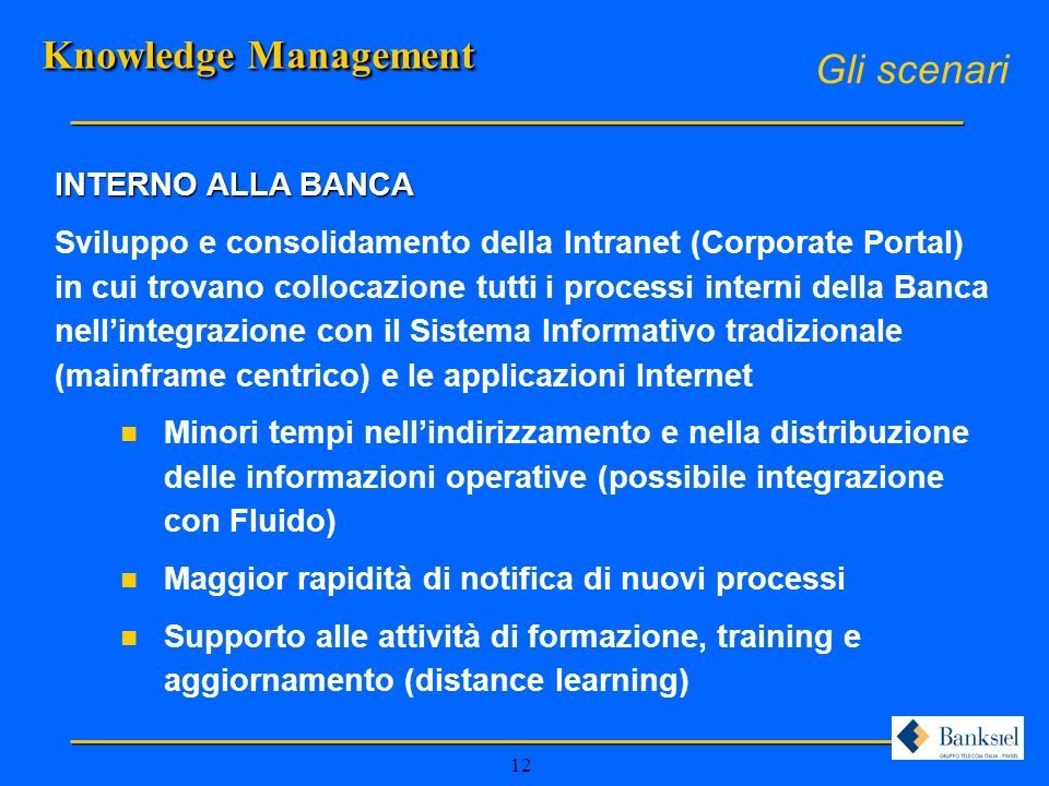 Knowledge Management Gli scenari INTERNO ALLA BANCA