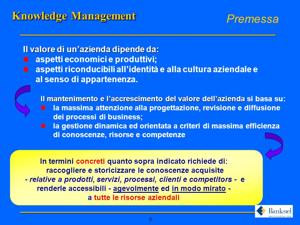 Knowledge Management Premessa Il valore di un'azienda dipende da: