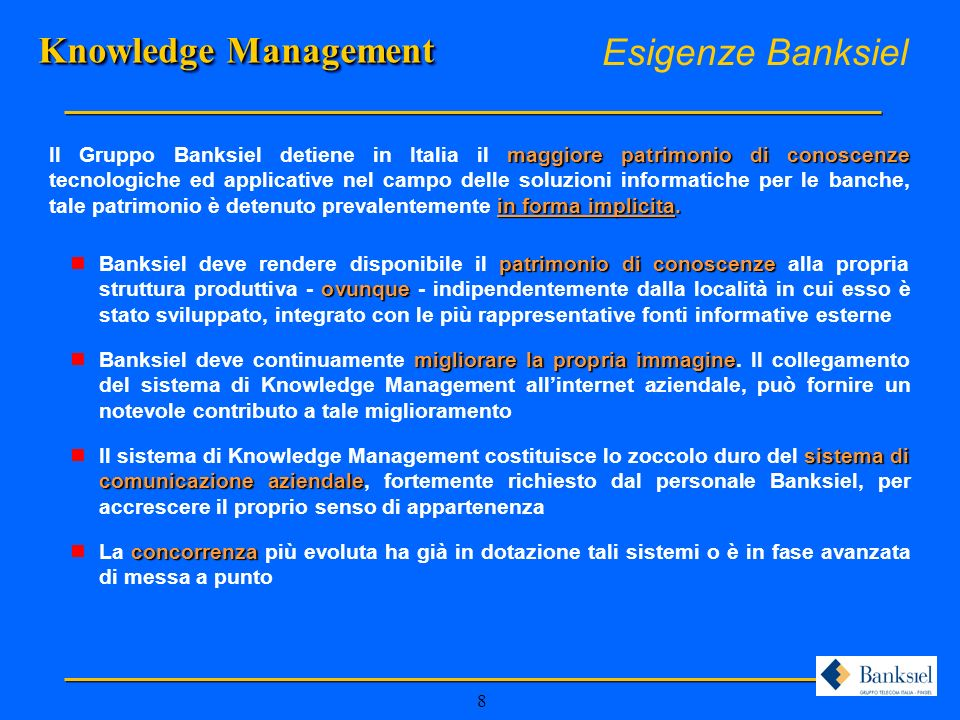 Knowledge Management Esigenze Banksiel