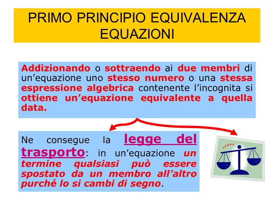 PRIMO PRINCIPIO EQUIVALENZA EQUAZIONI