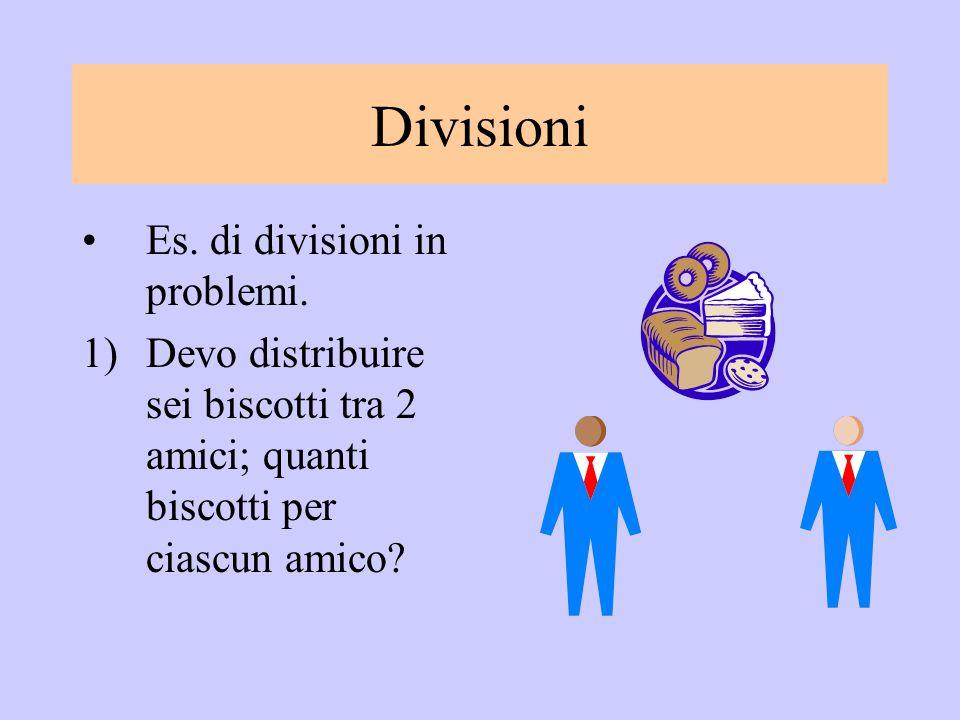 Divisioni Es. di divisioni in problemi.