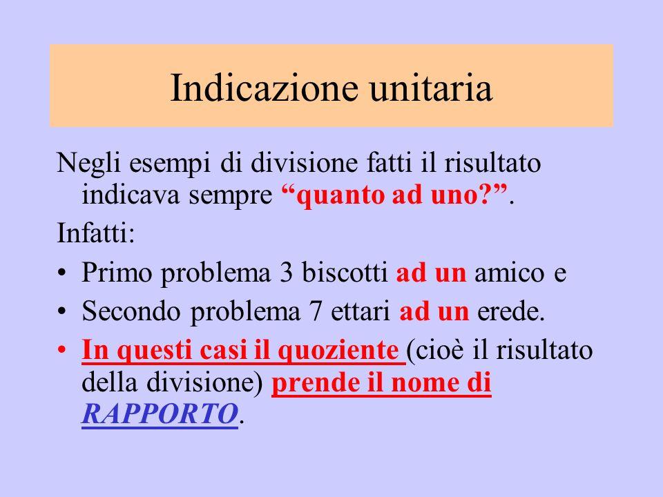 Indicazione unitaria Negli esempi di divisione fatti il risultato indicava sempre quanto ad uno .