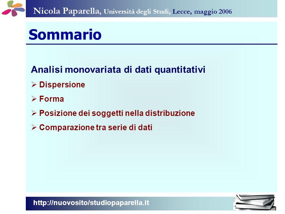 Sommario Nicola Paparella, Università degli Studi, Lecce, maggio 2006