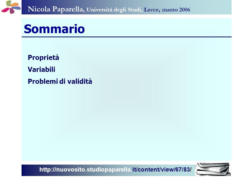 Sommario Nicola Paparella, Università degli Studi, Lecce, marzo 2006