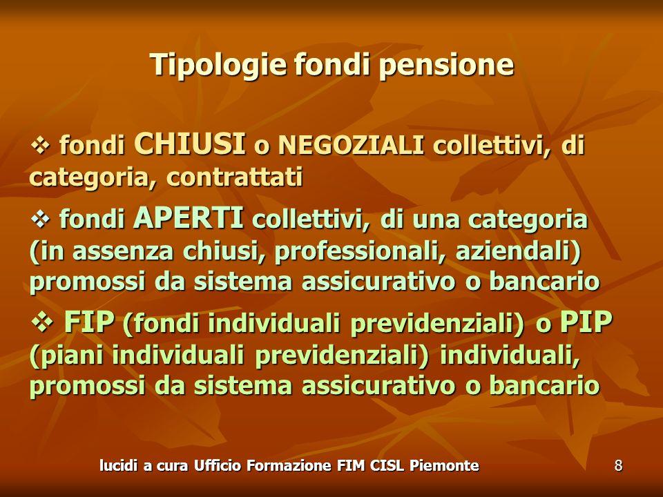Tipologie fondi pensione