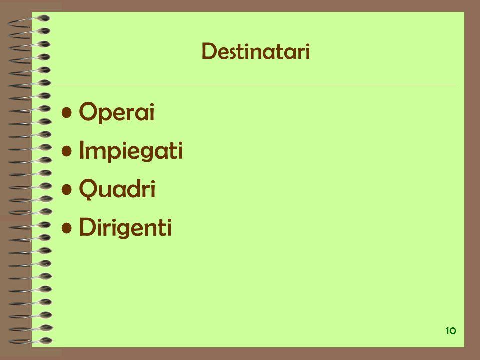 Destinatari Operai Impiegati Quadri Dirigenti