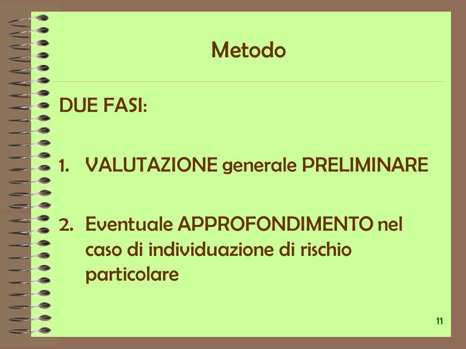 Metodo DUE FASI: VALUTAZIONE generale PRELIMINARE