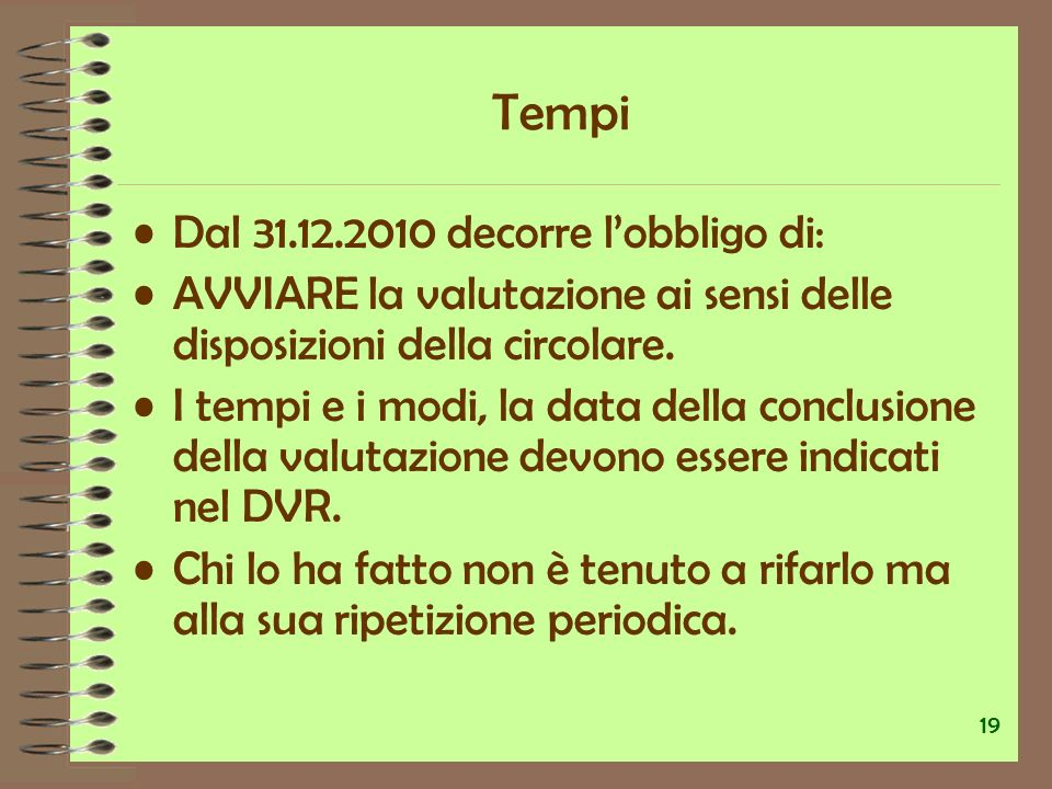 Tempi Dal 31.12.2010 decorre l'obbligo di: