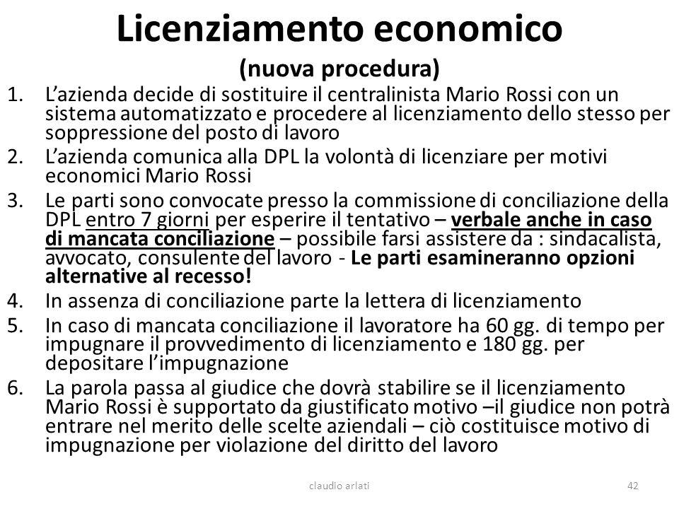 Licenziamento economico (nuova procedura)