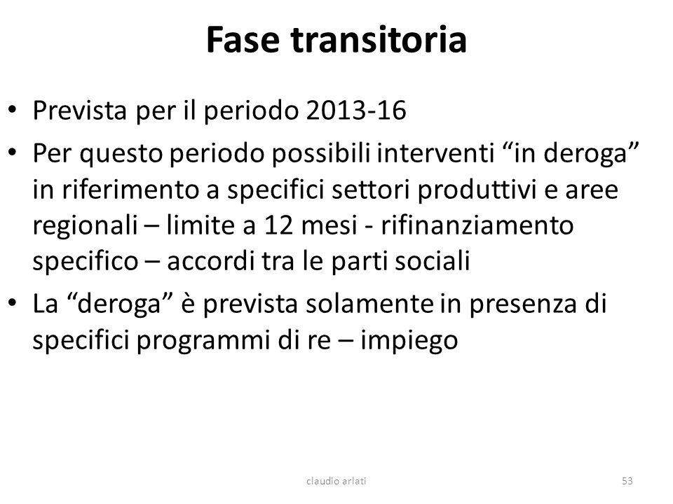 Fase transitoria Prevista per il periodo 2013-16