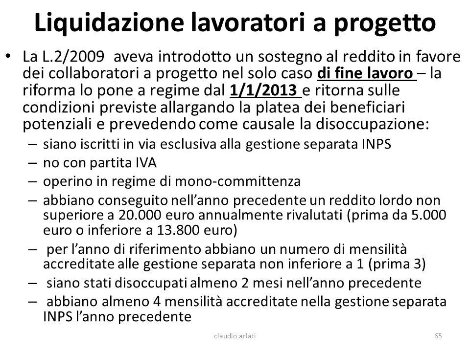 Liquidazione lavoratori a progetto
