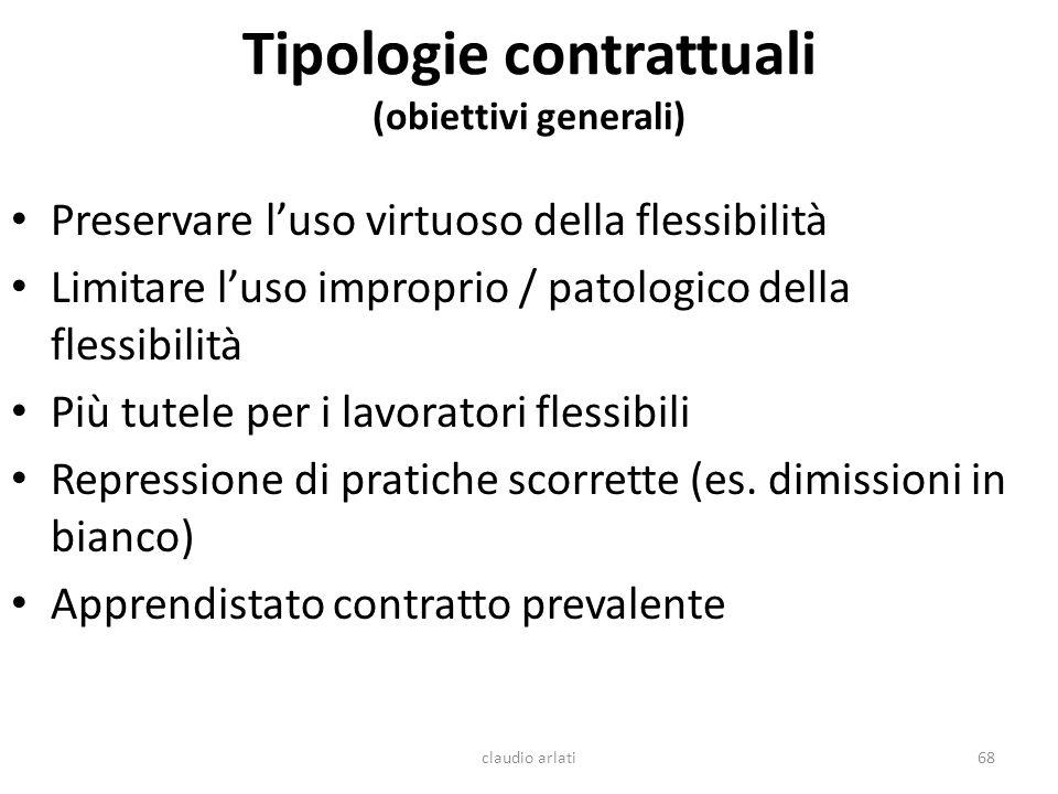 Tipologie contrattuali (obiettivi generali)