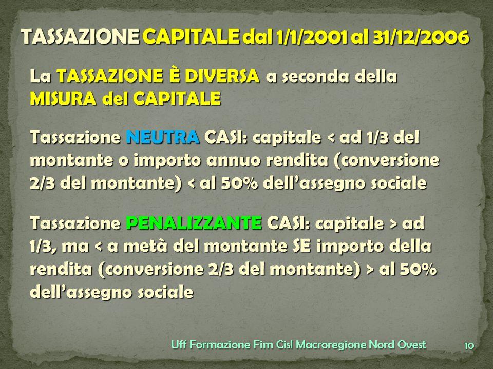 TASSAZIONE CAPITALE dal 1/1/2001 al 31/12/2006
