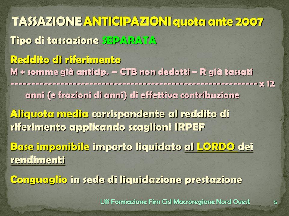 TASSAZIONE ANTICIPAZIONI quota ante 2007