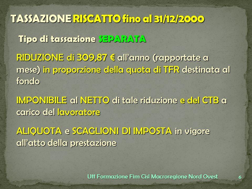 TASSAZIONE RISCATTO fino al 31/12/2000