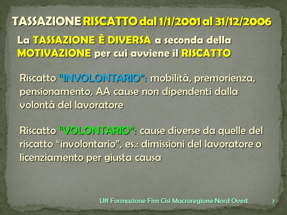 TASSAZIONE RISCATTO dal 1/1/2001 al 31/12/2006