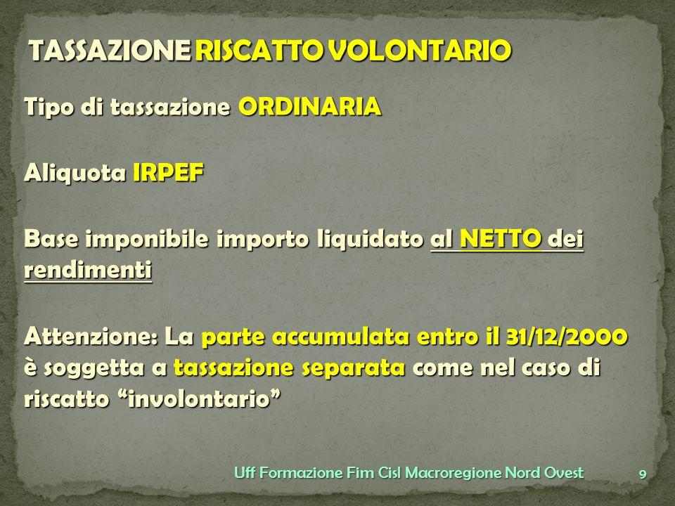 TASSAZIONE RISCATTO VOLONTARIO